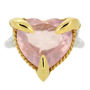 Rose Quartz Love Heart Ring