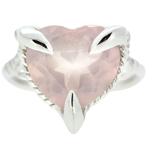 Rose Quartz Silver Love Heart Ring