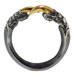 Oxidised Single Claw with Gold Nails