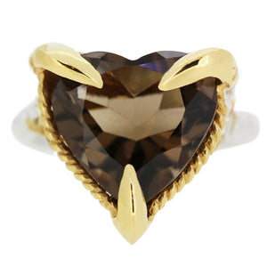 Smokey Quartz Love Heart Ring