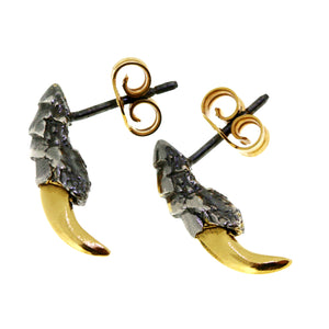 Pigeon Claw Studs - Oxidised with Gold Nails
