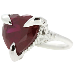 Synthetic Ruby Silver Love Heart Ring