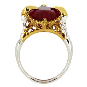 Synthetic Ruby Love Heart Ring