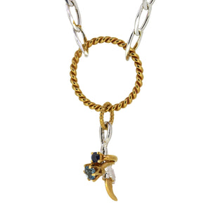 Charm Necklace with Mini Rings - Topaz and Sapphire