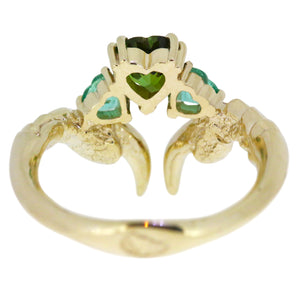 Tourmaline and Emerald Threesome Gold Ring