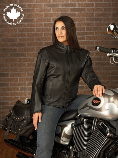 #23380 Ladies Classic Leather Motorcycle Jacket 6