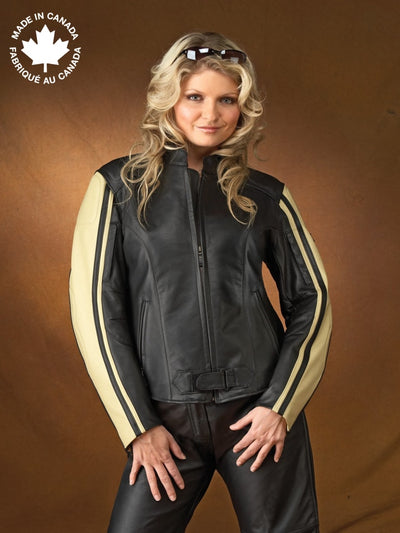 #23396 Ladies Leather Motorcycle Jacket W/sleeve Detail 6