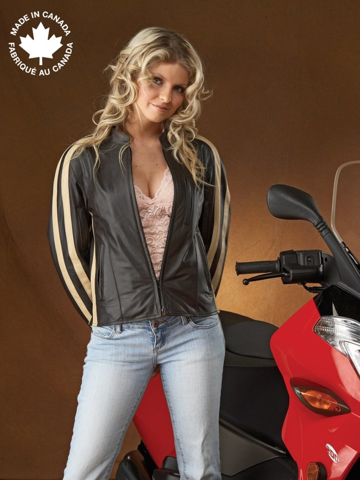 #23399 Ladies Leather Motorcycle Jacket W/sleeve Detail 6