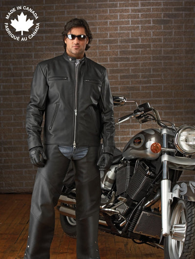 #3352 Mens Classic Leather Motorcycle Jacket 40