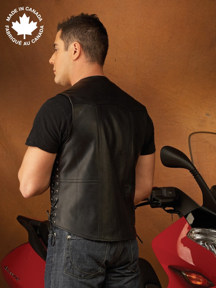 #3372 Mens Leather Vest W/lace Ties Vests