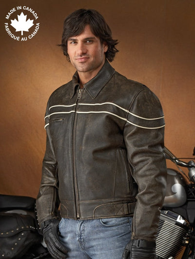 #3376 Mens Leather Motorcycle Jacket W/contrast Trim 40