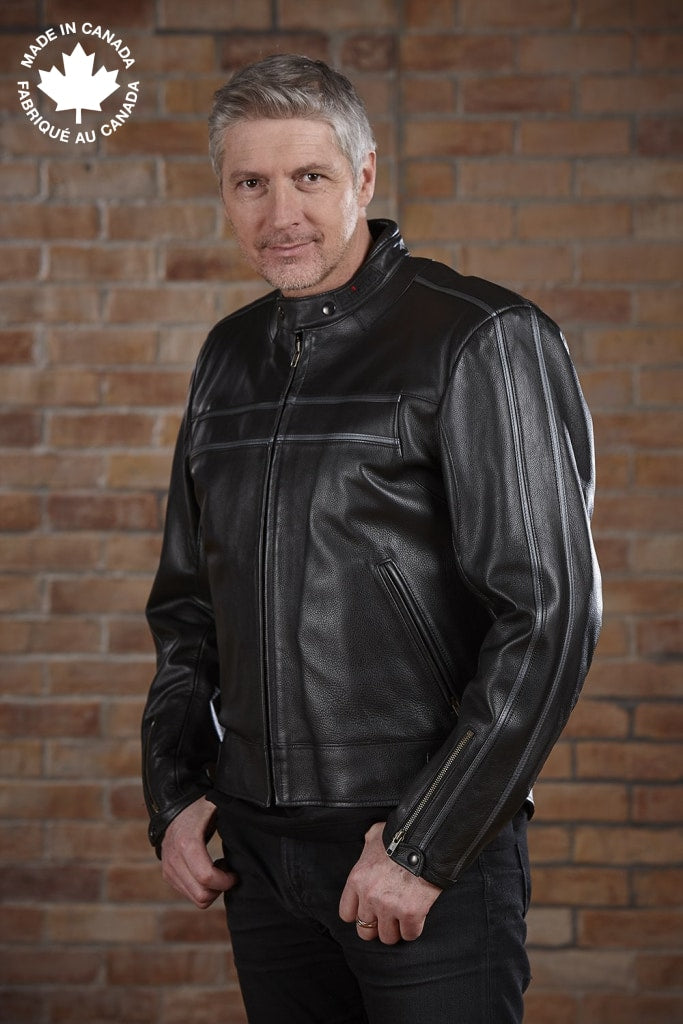 #3394 Mens Leather Motorcycle Jacket W/sleeve Detail