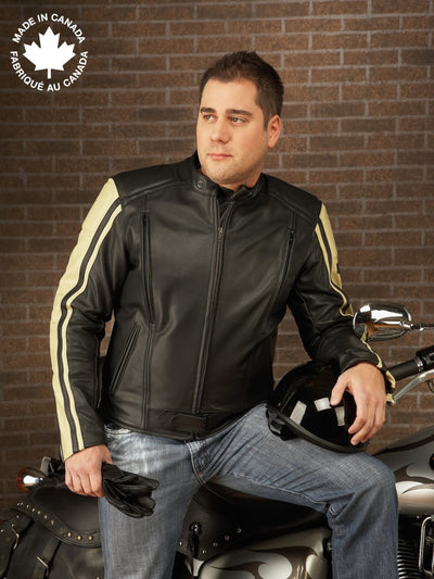 #3396 Mens Leather Motorcycle Jacket W/sleeve Trim 38