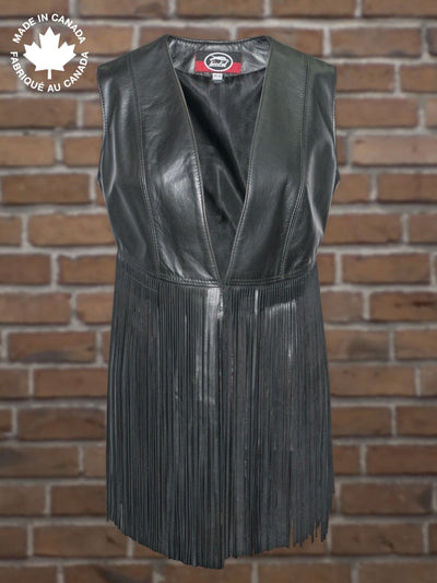 #6017 Ladies Leather Fringe Vest 4 Vests