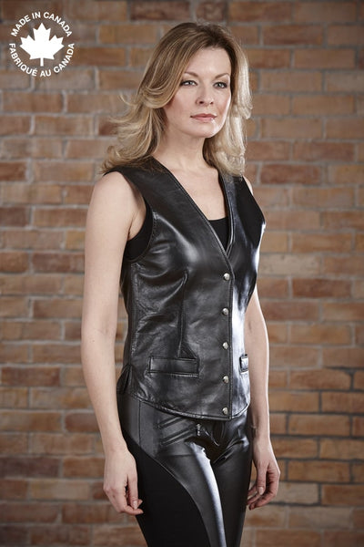 #719 Ladies Leather Vest 4 Vests