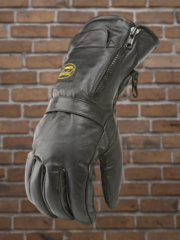Men's Zip Front Leather Riding Glove w/ Rain Mitt