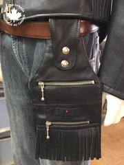 Mens / Ladies Leather Belt Bags Black W/fringes Accessories