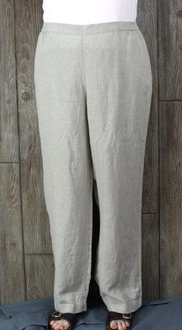 New J JIll Flax XL size Pants Beige Work Casual Womens Linen Elastic Waist