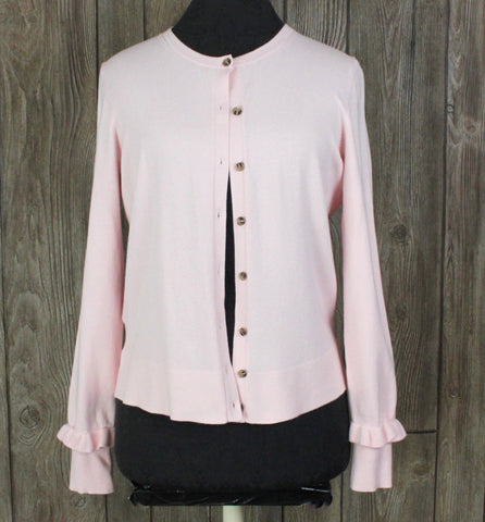 Cute Ann Taylor Cardigan Sweater M size Light Pink Womens Work Casual