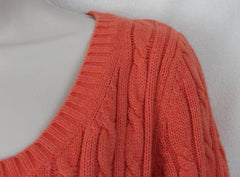 Ann Taylor Loft M size Sweater Orange Soft Cable All Season Womens 3.4 Sleeve - Jamies Closet - 3