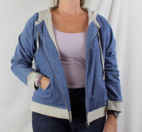 J Jill Jacket M size Zip Front Hooded Blue Denim Lined Box Fit All Season Casual - Jamies Closet - 1