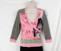 Lynn Ritchie Top S size Womens Pink Multi Color Graphic Wrap Over neck Shirt - Jamies Closet - 2