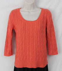 Ann Taylor Loft M size Sweater Orange Soft Cable All Season Womens 3.4 Sleeve - Jamies Closet - 2