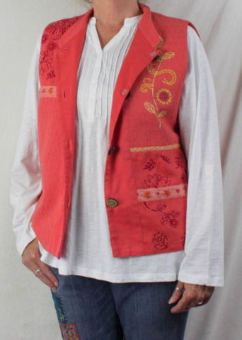 Cedar Canyon Vest L size New Orange Pink Embroidered Fun Loose Fit All Season - Jamies Closet - 1