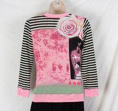 Lynn Ritchie Top S size Womens Pink Multi Color Graphic Wrap Over neck Shirt - Jamies Closet - 6