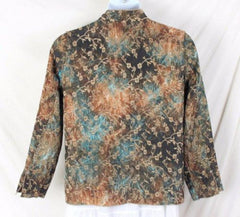 Tapestry Jacket L size Reversible Brown Blue Floral Lightweight All Season - Jamies Closet - 12