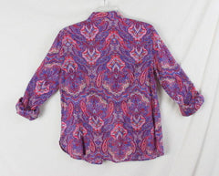 Talbots Blouse 6 S size New Multi Color Paisley Lightweight button front Womens - Jamies Closet - 6