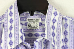 Arnolds Mens Shop M size Shirt Purple Blue White Retro Style Lightweight - Jamies Closet - 4