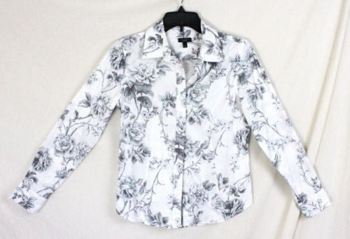 Talbots Blouse 4 size Gray White Floral Long Sleeve Womens Cotton Shirt Rose - Jamies Closet - 1