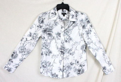 409be3762ab Talbots Blouse 4 size Gray White Floral Long Sleeve Womens Cotton Shirt Rose