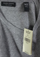 Valerie Stevens Cashmere Sweater L size New Gray 2ply Soft Crew Neck Easy Wear - Jamies Closet - 6