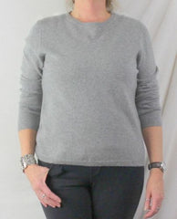 Valerie Stevens Cashmere Sweater L size New Gray 2ply Soft Crew Neck Easy Wear - Jamies Closet - 1