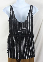 Seneca Rising Tank Top L size New Black White Soft Jersey Lace Accent Vacation - Jamies Closet - 4