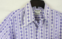 Arnolds Mens Shop M size Shirt Purple Blue White Retro Style Lightweight - Jamies Closet - 3