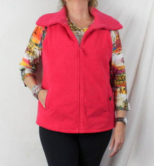 Lands End Fleece Vest L 14 16 size Bright Pink Zip Front Sweater Collar Heavy - Jamies Closet - 1