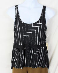Seneca Rising Tank Top L size New Black White Soft Jersey Lace Accent Vacation - Jamies Closet - 2