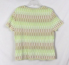 Talbots XL size New Sweater Green White Beige Short Sleeve All Season Top Italy - Jamies Closet - 6