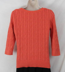 Ann Taylor Loft M size Sweater Orange Soft Cable All Season Womens 3.4 Sleeve - Jamies Closet - 4