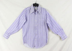 Arnolds Mens Shop M size Shirt Purple Blue White Retro Style Lightweight - Jamies Closet - 2