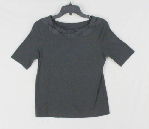 Talbots Top PS Petite Small size Womens Black Short Sleeve Shirt Ribbon Neckline - Jamies Closet - 1