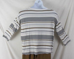 J Jill Top M size Multi Stripe Vneck Tee Shirt White Brown Black Lightweight - Jamies Closet - 5