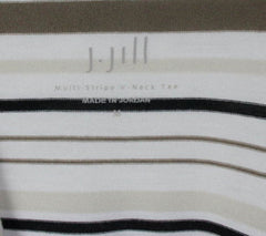 J Jill Top M size Multi Stripe Vneck Tee Shirt White Brown Black Lightweight - Jamies Closet - 6