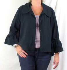 Pacificotton Jacket L size Black Swing Loose Fit Longer Back Swing Langenlook - Jamies Closet - 1