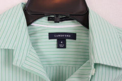 Lands End Blouse 4 S Size Green White Stripe Long Sleeve Womens Shirt Easy Wear - Jamies Closet - 3