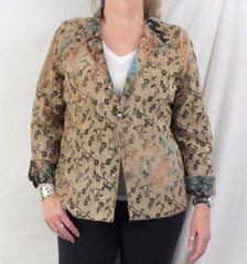 Tapestry Jacket L size Reversible Brown Blue Floral Lightweight All Season - Jamies Closet - 2