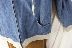 J Jill Jacket M size Zip Front Hooded Blue Denim Lined Box Fit All Season Casual - Jamies Closet - 4